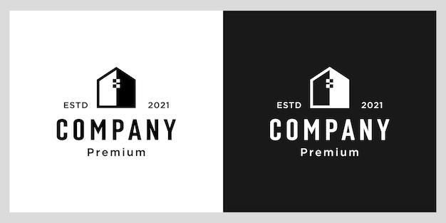 Modelo de design de logotipo para casa com espaço negativo