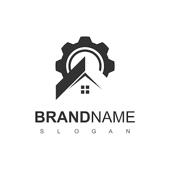 Modelo de design de logotipo para casa e garagem