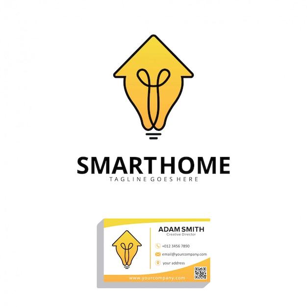 Modelo de design de logotipo para casa inteligente