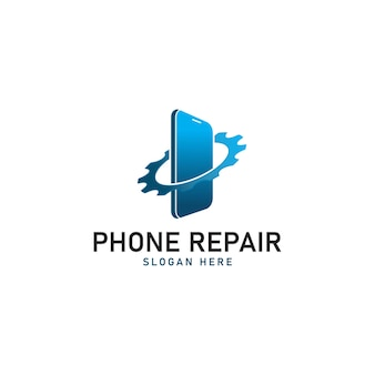 Modelo de design de logotipo para conserto de telefone Vetor Premium