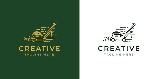 Modelo de design de logotipo para cortador de grama