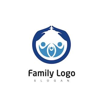 Modelo de design de logotipo para cuidados familiares