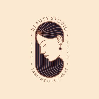 Modelo de design de logotipo para salão de beleza, cabeleireiro, cosméticos, maquiador