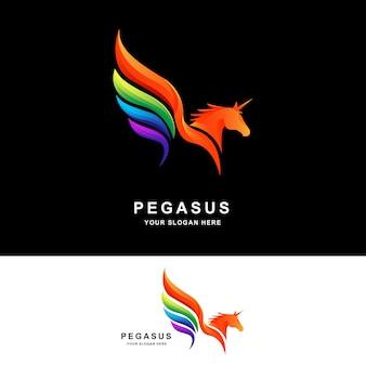 Modelo de design de logotipo pegasus com cor gradiente