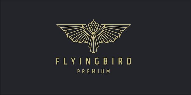 Modelo de design de logotipo poligonal de arte em linha pássaro voador
