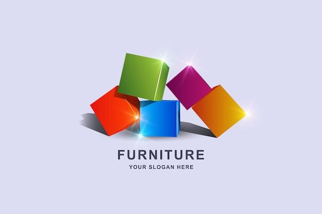 Modelo de design de logotipo quadrado de caixa 3d