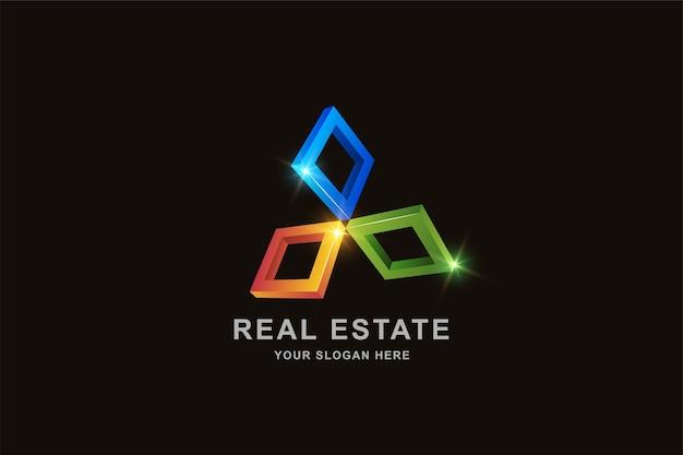 Modelo de design de logotipo quadrado de quadro 3d imobiliário ou construção