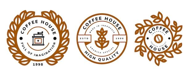 Modelo de design de logotipo retrô de café