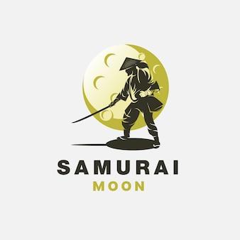 Modelo de design de logotipo samurai moon