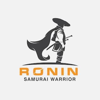Modelo de design de logotipo samurai warrior