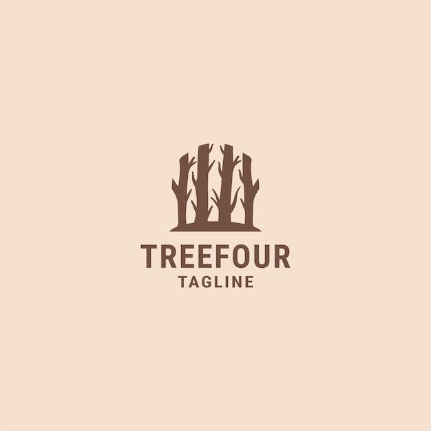 Modelo de design de logotipo simples de árvore