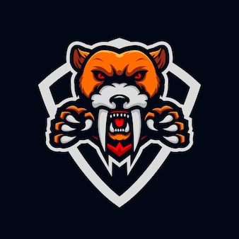 Modelo de design de logotipo tigre esport