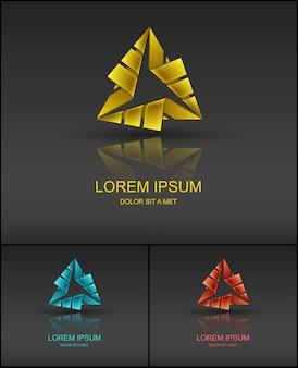 Modelo de design de logotipo triangular abstrato