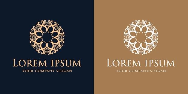 Modelo de design de logotipo vintage de luxo dourado de florescer