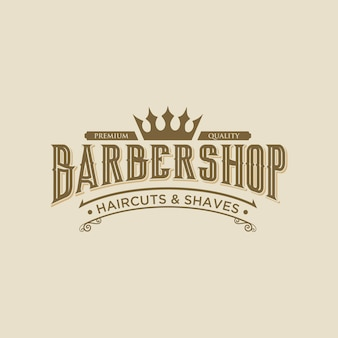 Modelo de design de logotipo vintage elegante barbearia abstrack