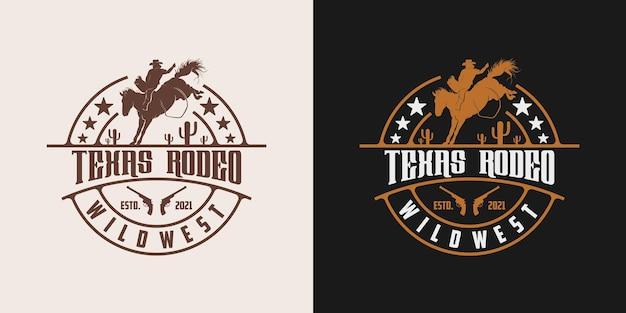 Modelo de design de logotipo vintage retrô texas rodeio vaqueiro cavalgando cavalo