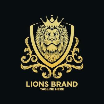 Modelo de design de luxo de leão heráldica
