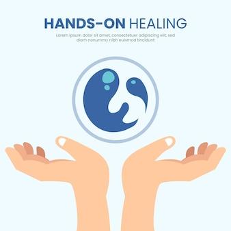 Modelo de design de mãos de cura energética
