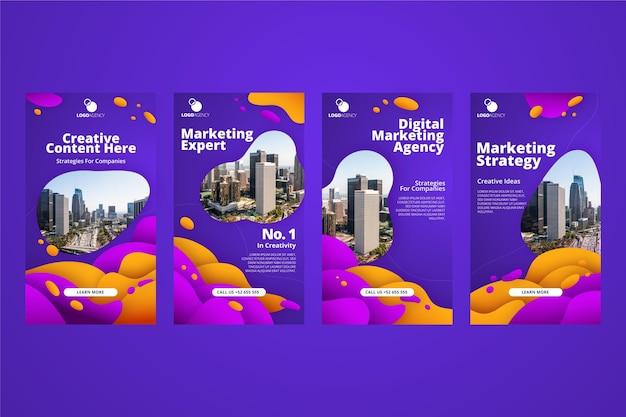 Modelo de design de marketing gradiente de histórias insta