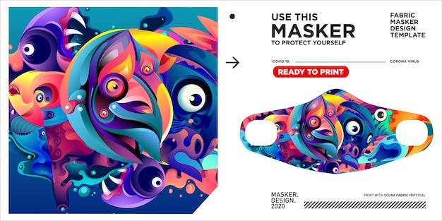Modelo de design de máscara com ilustração colorida para proteger vírus