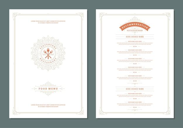 Modelo de design de menu com capa e brochura de vetor de logotipo vintage de restaurante. ferramentas de cozinha símbolo ilustração e decoração de moldura e redemoinhos de ornamento.