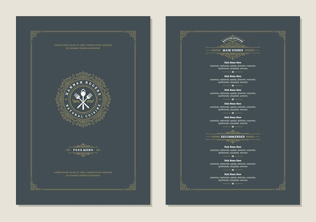 Modelo de design de menu com capa e brochura de vetor de logotipo vintage de restaurante