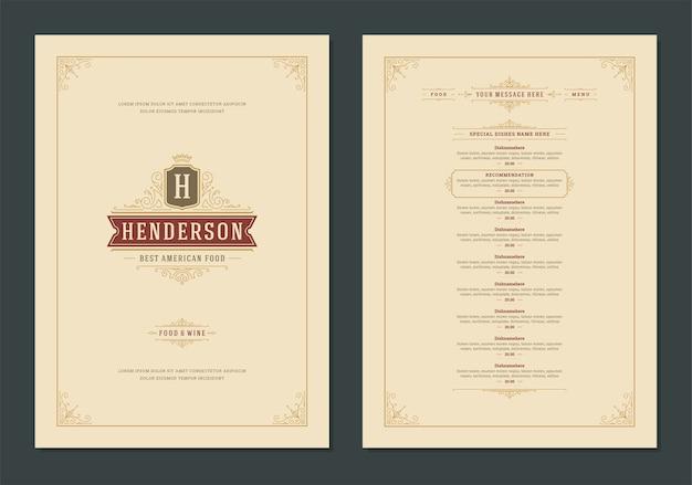 Modelo de design de menu com capa e folheto com logotipo vintage do restaurante