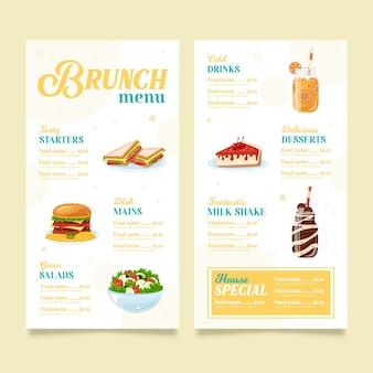 Modelo de design de menu de brunch Vetor Premium