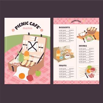 Modelo de design de menu de café para piquenique