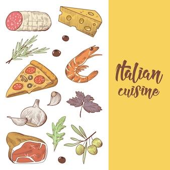 Modelo de design de menu de comida de cozinha italiana