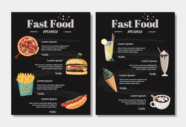 Modelo de design de menu de fast-food.