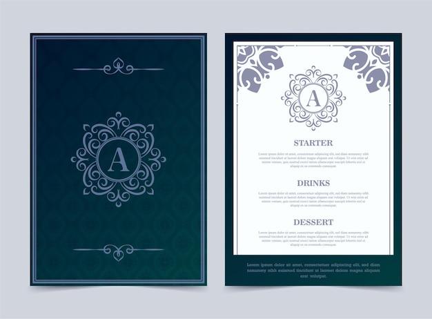 Modelo de design de menu de restaurante de luxo com logotipo ornamentado