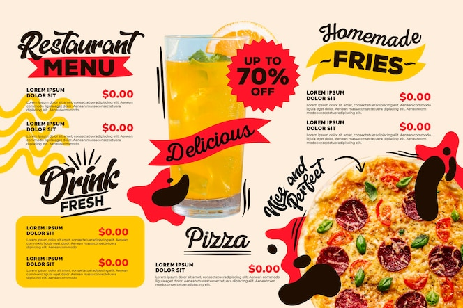 Modelo de design de menu digital de restaurante