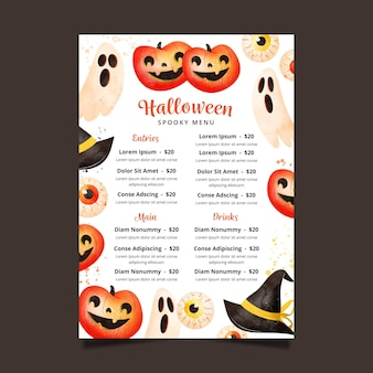 Modelo de design de menu do festival de halloween