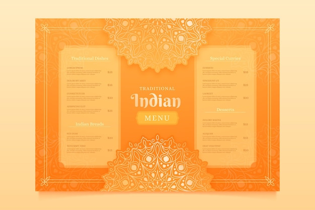 Modelo de design de menu gradiente indiano