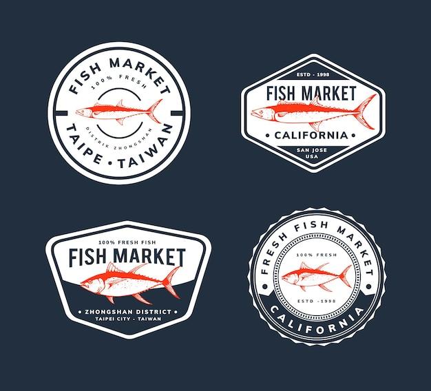 Modelo de design de mercado de peixes para crachá, logotipo,