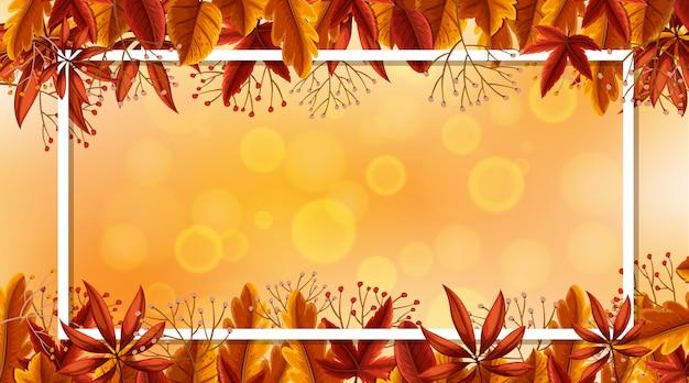 Modelo de design de moldura com folhas de outono em