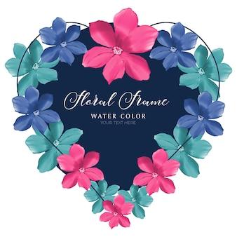 Modelo de design de moldura floral em aquarela