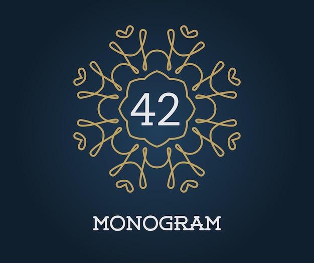 Modelo de design de monograma com ilustração de letras