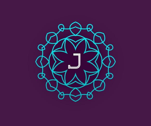 Modelo de design de monograma com letra em vetor. turquesa de qualidade elegante premium em violeta com letra branca.