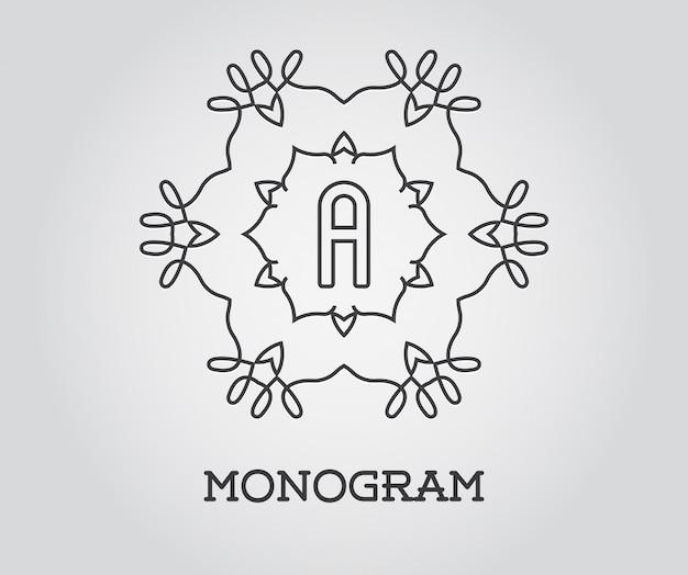 Modelo de design de monograma com letra