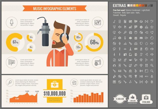 Modelo de design de música infográfico plano e conjunto de ícones