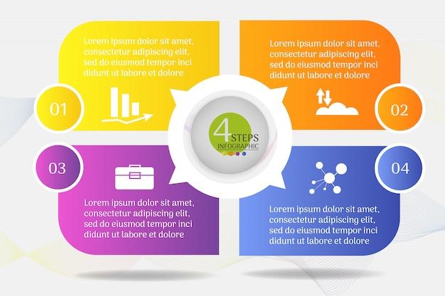 Modelo de design de negócios 4 opções ou etapas infográfico gráfico elemento.