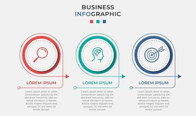 Modelo de design de negócios infográfico com ícones e 3 três opções ou etapas.