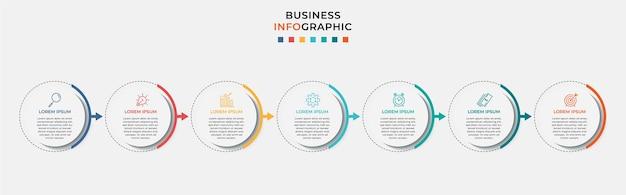 Modelo de design de negócios infográfico com ícones e 7 sete opções ou etapas.