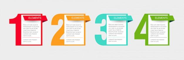 Modelo de design de negócios infográficos com 4 etapas ou opções