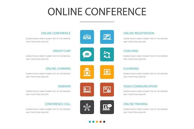 Modelo de design de nuvem de infográfico de conferência online. chat em grupo, aprendizagem online, webinar, ícones simples de teleconferência
