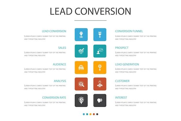 Modelo de design de nuvem infográfico de conversão de leads. vendas, análise, cliente potencial, ícones simples de cliente