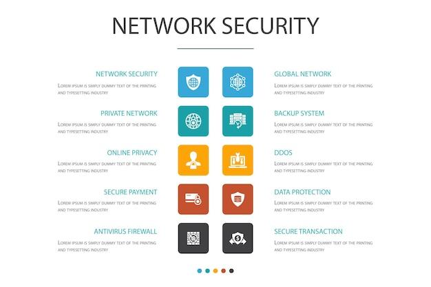 Modelo de design de nuvem infográfico de segurança de rede. rede privada, privacidade online, sistema de backup, ícones simples de proteção de dados