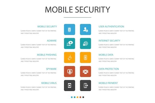 Modelo de design de nuvem infográfico de segurança móvel. phishing de celular, spyware, segurança de internet, ícones simples de proteção de dados